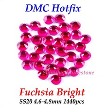DMC Fuchsia Bright SS20 4.6-4.8mm Glass Crystals Hotfix Rhinestone Iron-on Rhinestones Shiny DIY Garment Bag With Glue(China)