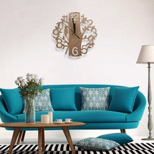Modern Wood Vintage Design Wall Clock Fashion Style Home Living Room Personality Quiet Clock 230*230*40mm
