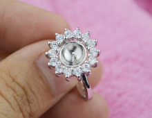 925 Silver Sunflower shape Pearl Ring Mounting with Shiny CZ, Sterling Silver Pearl /Coral/ Cystal/ Gems Ring Fitting Accessory(China)