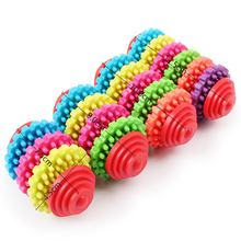 Rubber Dog Chew Toys for Small Dogs Play Ball Toys Puppy Clean Teeth Gums Training Tool Dental Health Colorful Pet Toys 11cy50S2(China)