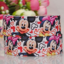 wholesale Free shipping 50 yards Mickey Mouse Printed Grosgrain Ribbon  Clothing accessories DIY party decoration