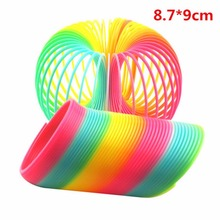 Magic Kids Toy Large Magic Plastic Slinky Rainbow Spring 8.7*9cm Colorful Funny Classic Toy For Children Gift(China)