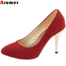 ASUMER 2016 size 34-44 high heels women pumps thin heels sexy dress shoes red black brown party wedding shoes drop shipping