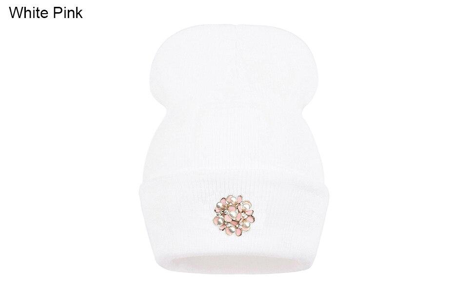 Ralferty Winter Hats For Women Flower Beanies Skullies Female bonnet femme gorros cappelli Cap Beanie gorra Black Acrylic Hat 2