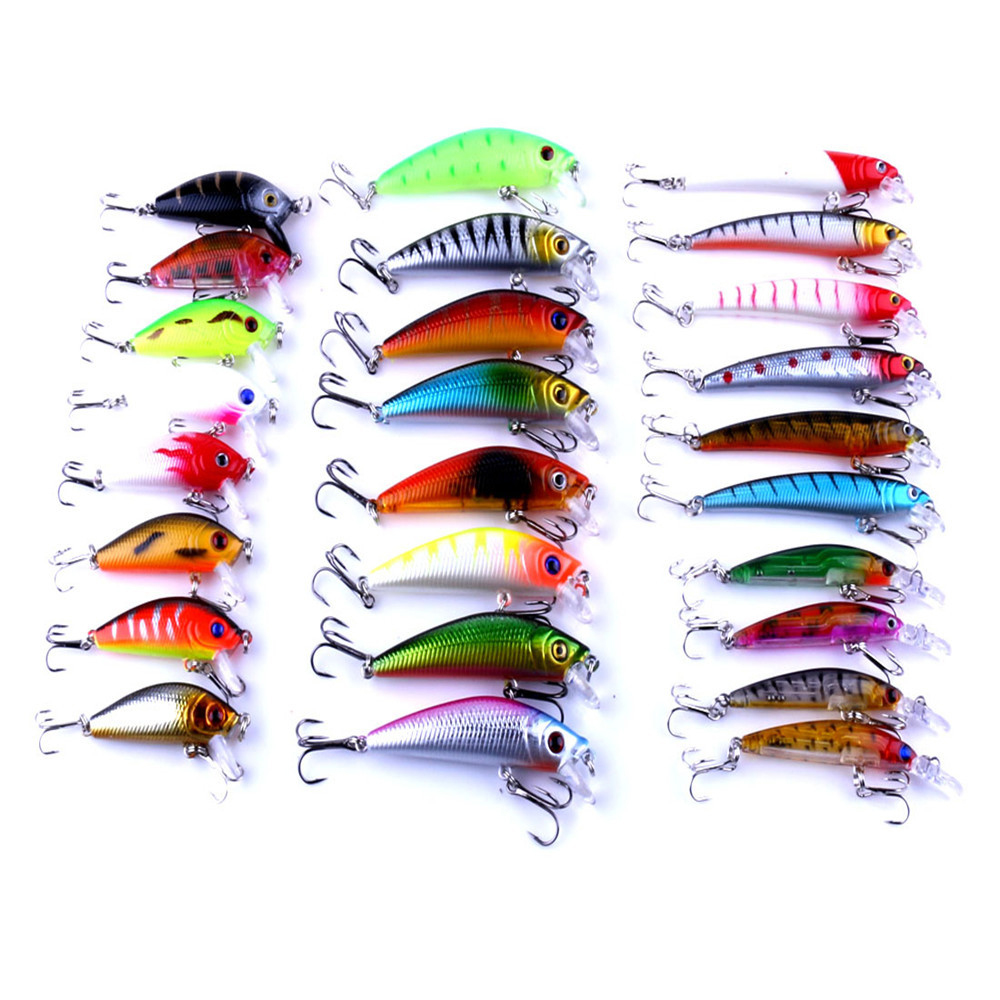 26 pcs Lure kit minnow fishing lure set mepps jia lure artificial hard bait fishing tackle wholesale <br><br>Aliexpress