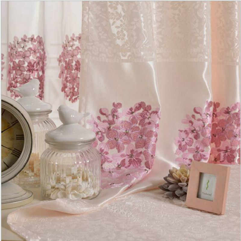high quality polyester fabric curtains/tulle,pink embroidered wedding bedroom window screen,Chinese classic curtains for home