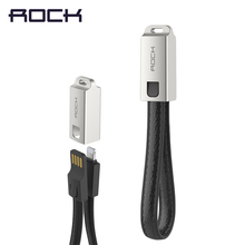 ROCK Metal leather USB Cable For iPhone X 8 7 6s plus 5 iPad Keychain Sync Data Charger IOS 11 10 9 Mobile Phone Cables 2.1A(China)