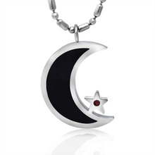Black Enamel Silver Tone Stainless Steel Islamic Crescent Moon & Star Pendant Necklace 60CM SS Chain