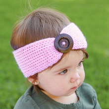 girls kids knit crochet turban headband button headbands hair accessories children hair head band wrap hairband ornaments KT066