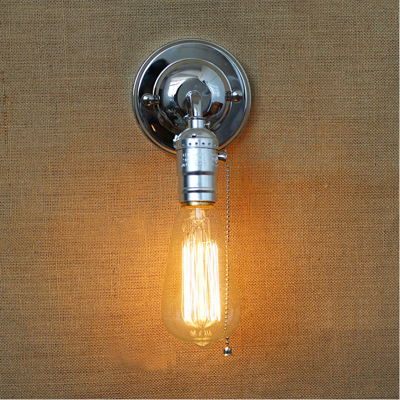 Free shpping Loft vintage iron wall lamp with switch indoor wall lights fashion stair light bedside lamps modern wall light gold<br>