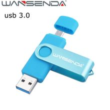 Wansenda OTG usb 3.0 128gb USB flash drive 16gb 32gb Two-side pen drive for Android mobile phone 8gb usb stick 64gb pendrive