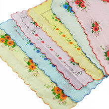 12 Pcs Lot Women Lady Child 100% Cotton Flower Handkerchiefs Quadrate Hankies Wholesale Useful(China)