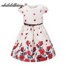 ChildDkivy Flower Girls Print Dresses Autumn 2017 Girls Party Princess Dress Kids Dresses for Girls Birthday Children Clothes(China)