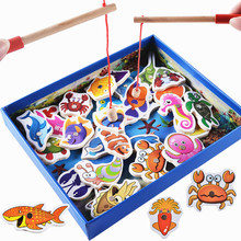 New  32Pcs Set Fish Wooden Magnetic Fishing Toy Board Fish Game Baby Kids Educational Toys Child Birthday/Christmas Gift