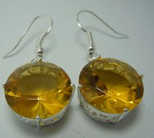 Free transport wholesale processing customized fashion Sterling Silver Oval Citrine Earrings