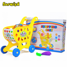 Surwish 19Pcs Children Shopping Cart Toys Set Pretend & Play Baby Kids Home Educational Toy(China)