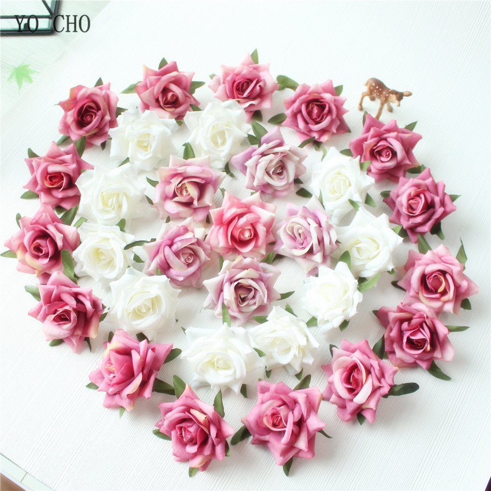 Rose Artificial Flower Head White Pink Silk Peony Wedding Party Decoration DIY Decorative Fake Flower  (12)