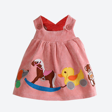 Baby Girl Wide Dress Spring Autumn Cute Animals Applique Girls Clothes Flannel Sundress Vest Kids Dresses For Girls 1- 4 Yrs.