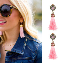 JURAN 2017 Vintage Design Colorful Tassel Statement Earring 2017 New Fashion Rope Fringe Earrings Party Girls For Women J50032(China)