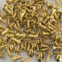 200pcs/pack J247 M2*6 Flat Self-tapping Screws Brass Material Golden Small Philip's Screws DIY Model Making Tools Free Shipping