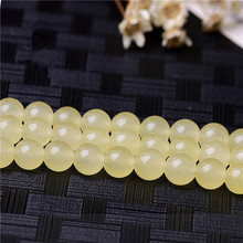 RONGQING 1 String Bright Yellow Chalcedony Beads 6/8/10/12mm Chalcedony Beads Bracelet Necklace DIY Gift Idea(China)