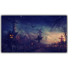 Halloween Poster Pumpkins, Black Cat, Witch's Broom Modern Cartoon Art Picture For Home Decoration Silk Poster and Prints QT070