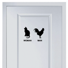 Cat and Cock Marks for Toilet Sticker Vinyl Fashion for Shop Office Home Cafe Hotel Toilets Door Decor Wall Stickers