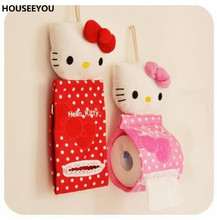 Hello Kitty Pumping Paper Storage Box Cartoon Plush Cloth Tissue Box Case Holder for Dining Room Bedroom Home Storage Supplies