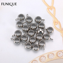 FUNIQUE 20PCs Polished Round Big Hole Bead Charms Stainless Steel Charms Jewelry Findings For Making Women Necklace Jewelry Gift