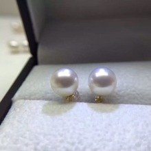 charming pair AAA round 9-10mm south sea white pearl earring14k(China)
