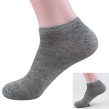 Mens Socks Elastic Bamboo Fiber Loafer Liner Low Cut No Show Black Boat Socks Comfortable(China)