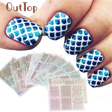 OutTop 24 Sheets New Nail Hollow Irregular Grid Stencil Reusable Manicure Stickers Stamping Template Nail Art Tools J170118