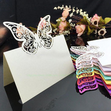 100pcs/lot Laser Cut White Butterfly Place Card Table Name Paper Cut Cards Favors Wedding Party Invitation Events Decor Supply(China)