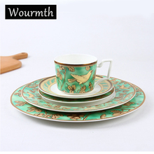 WOURMTH  High Quality Bone China Tableware Ceramic Dinner Set Dishes And Plates With Capacity Coffee Cups Saucers Party supplies