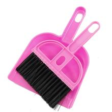 FJS!TOP! Amico Office Home Car Cleaning Mini Whisk Broom Dustpan Set Pink Black(China)