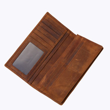 Crazy Horse Leather Men Wallet Luxury Vintage Business Male Long Purse Credit Card Organizer High Quality Handmade Leather Goods(China)