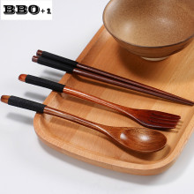 New 3pcs/set Japan style Natural Wooden spoon fork Chopsticks set Vintage Home Kitchen Tableware set Students Portable Cutlery