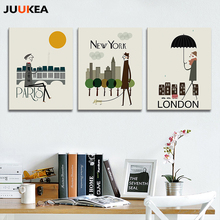 Modern Fashion Design Contracted City Theme New York London Paris Canvas Art Print Painting Poster Wall Picture For Home Decor(China)