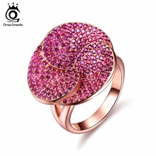 ORSA JEWELS Fashion Luxury Lead&Nickel Free Ring Rose Gold Color Flower Party Ring with 207 pcs AAA Cubic Zircon for Women OR135(China)