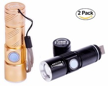 Hot USB Handy Powerful LED Flashlight Rechargeable Torch usb Flash Light Bike Pocket LED Zoomable Lamp For Hunting Black(China)