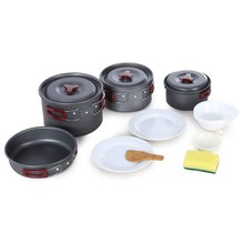 AOTU Outdoor Camping Hiking Cookware Tableware Picnic Backpacking Cooking Bowl Pot Pan Cooker Set 2-3 people