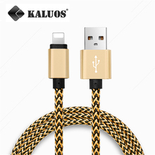 MFI Certificated KALUOS 8-Pin USB Data Sync Charge Cable For iPhone 5 5S 6 6S Plus iPad Mini 2 Air 2 Fast Charging Nylon Line 1M