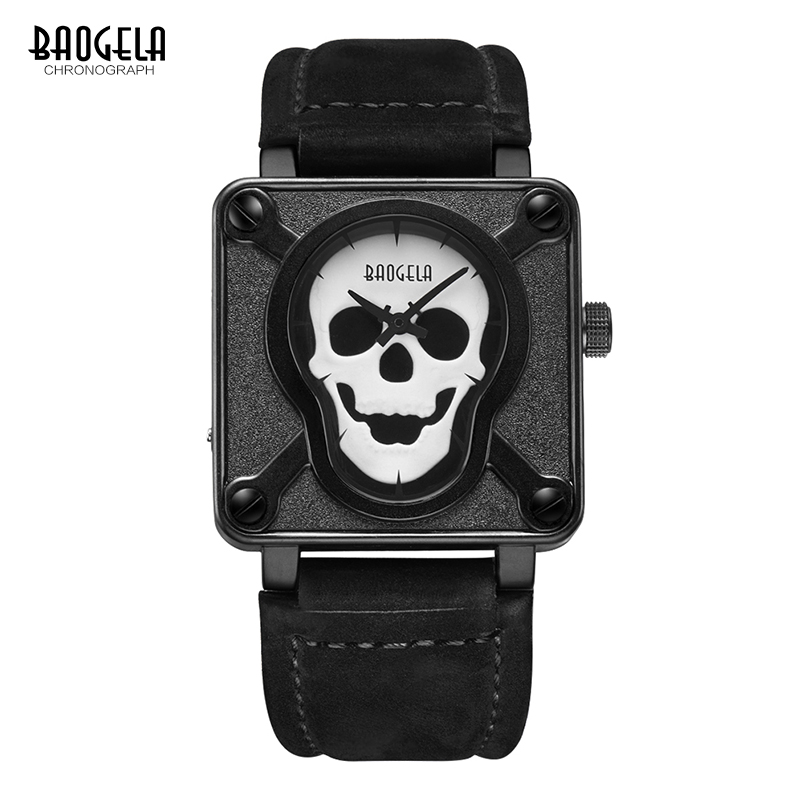 Baogela Mens Waterproof Black Brown Leather Strap Square Dial Quartz Wrist Watches With Luminous Skull BGL1701<br>