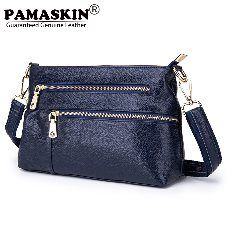 PAMASKIN Brand Premium Cowhide Leather Women Day Clutch Wristlets Multi Compartments Female Messenger Bag Ladies Cross-body Bag<br>