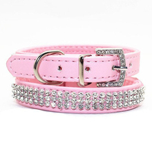 Bling Pet Dog Collar Led Pet Cats PU Leather Dog Collares Perros Rhinestone Buckle Puppy Necklace For Small Dogs Pet Accessories(China)