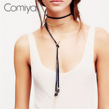 Comiya gold links black rope kolye bijoux fashion jewelry women accesssories choker necklaces maxi pendant mujer necklace femme