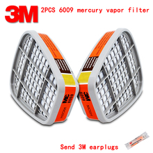 3M 6009 gas mask filter Genuine guarantee against Mercury vapor mercury Chlorine gas protective mask filter respirator fitting(China)