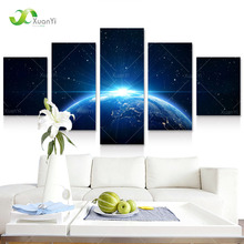 5 Panel Earth Picture Space Canvas Modern Abstract Painting Universe Canvas Picture For Office Cosmos Outer Space Poster Unframe(China)