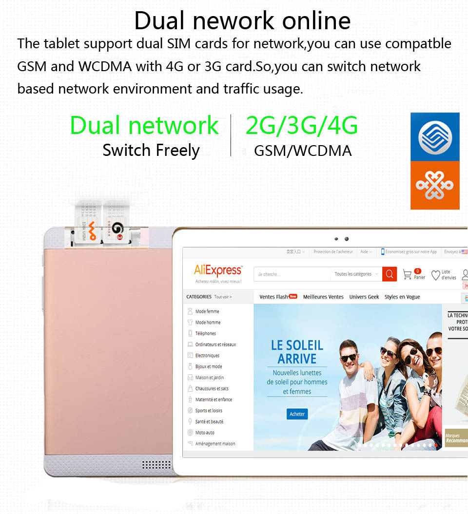 DONGPAD 10 inch Tablet PC Ocat Core 2GB RAM 32GB ROM Android 6.0 GPS 8.0MP 1920*1200 IPS 3G 4G LTE Telphone Tablets PC 10″ 10.1″