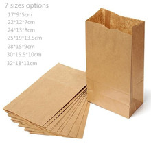 100pcs/lot-17*9*5cm Blank Kraft Paper Bags Sandwich Bread Food Takeout Bags Wedding Party Favour Gift Bags 7 sizes options(China)